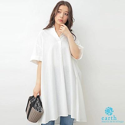 earth music 棉麻混紡襯衫領長版上衣洋裝