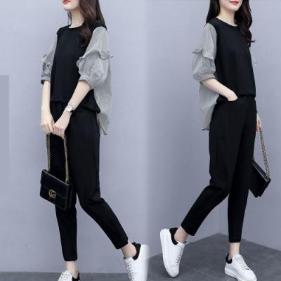 【韓國K.W.】(預購) 英倫風復古荷葉邊條紋套裝褲