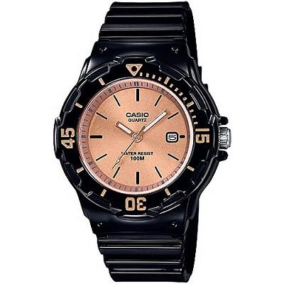 CASIO 新時尚運動風造型女錶-香檳玫瑰金X黑(LRW-200H-9E2)/22mm