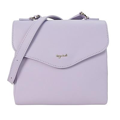 agnes b.小字logo斜背信封包(紫)