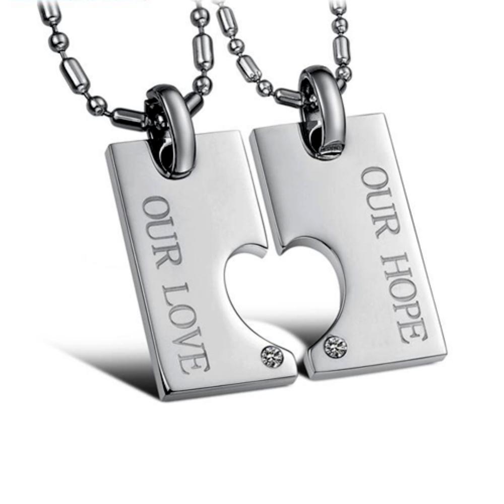 【I.Dear Jewelry】心意相投-西德鋼-情侶鈦鋼項鍊AB021