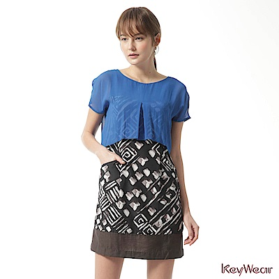 KeyWear奇威名品    100%絲光現代風格垂袖洋裝-藍色