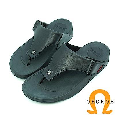 【GEORGE 喬治皮鞋】舒適系列 皮感夾腳涼拖鞋-黑色