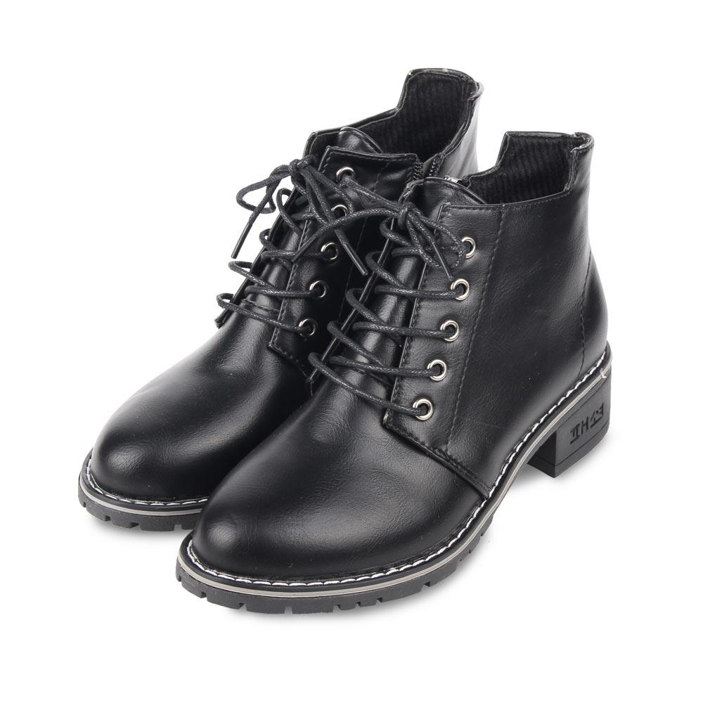 TTSNAP短靴-英倫綁帶蠟感拉鍊機車靴 黑