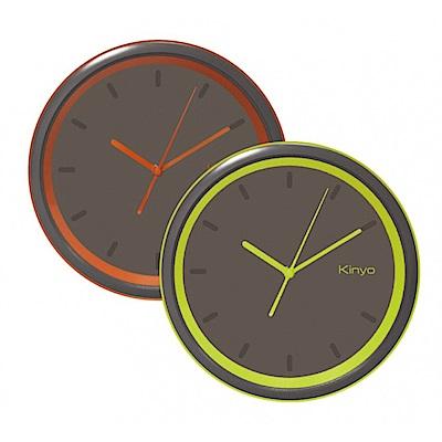 KINYO 10吋小型無數字時尚靜音掛鐘(顏色隨機)