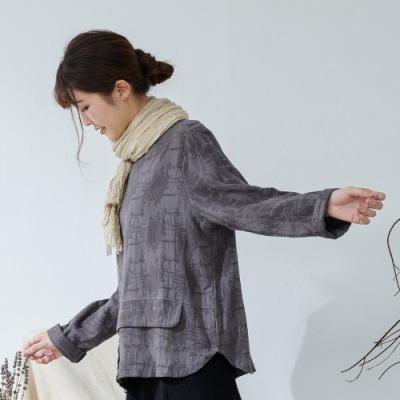 慢 生活 雙層織布設計棉麻上衣- 深灰
