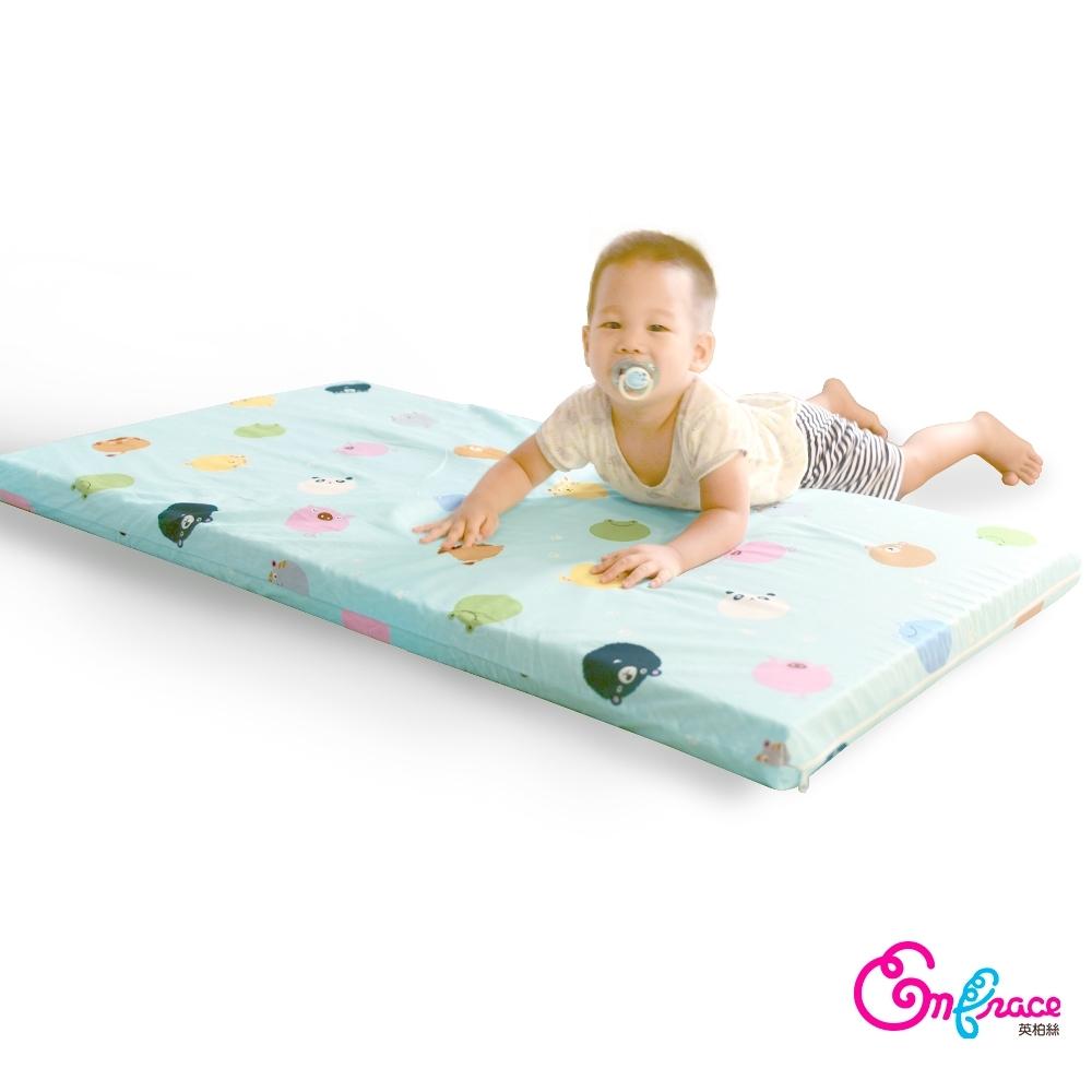 英柏絲 天然 嬰兒乳膠床墊 動物小星球 S號-60x120x5cm 純棉 嬰兒床