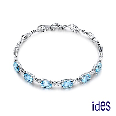 ides愛蒂思 歐美設計彩寶系列海藍寶拓帕石晶鑽手鍊/知性藍