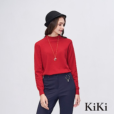 KiKi INLook 舒適羅紋領針織上衣(紅)