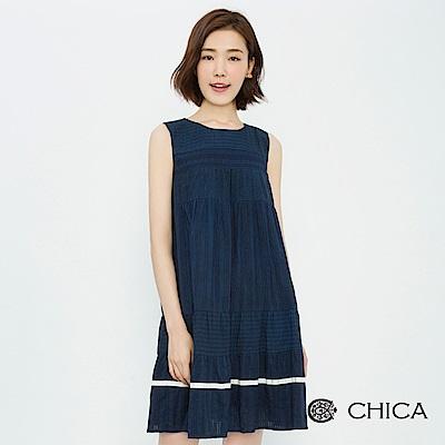 CHICA 恬靜赫本蕾絲拼接背心洋裝(2色)