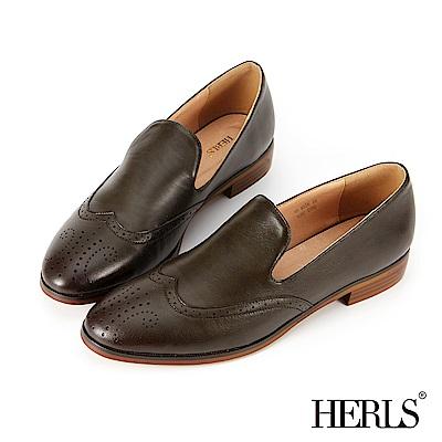 HERLS 內真皮 率性雕花樂福低跟鞋-墨綠
