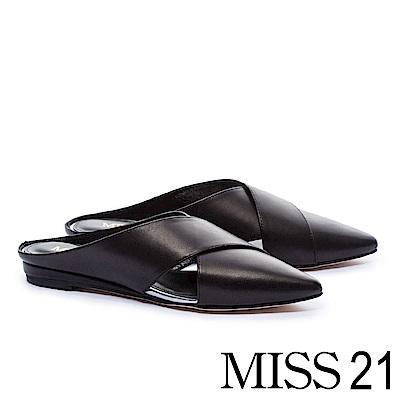 拖鞋 MISS 21 摩登素雅交叉羊皮尖頭穆勒低跟拖鞋-黑