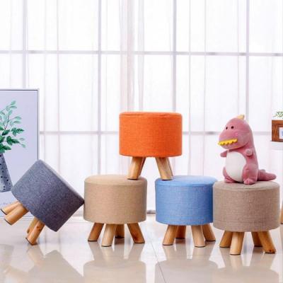 棉麻實木小圓凳 休閒椅 沙發矮凳【VENCEDOR】