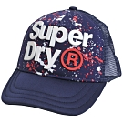 SUPERDRY 極度乾燥立體字母LOGO潑漆塗鴨棒球帽(深藍底)