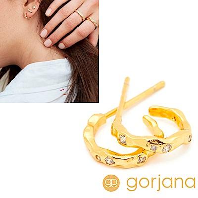 GORJANA 繁星迷你平衡骨 鑲鑽C型圓耳環 金色波浪紋 Collette Mini