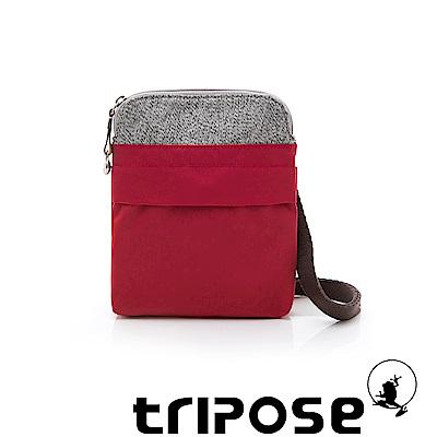 tripose 漫遊系列 岩紋x微皺尼龍護照斜背包 紅