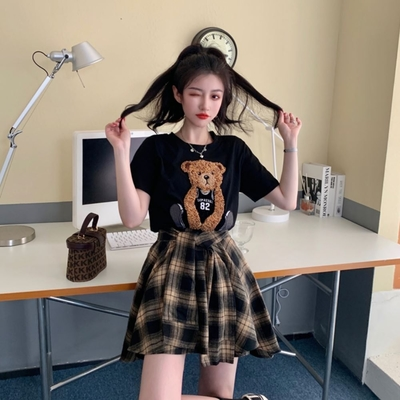 MOCO小熊82號立體貼布長版棉質T恤L~4XL