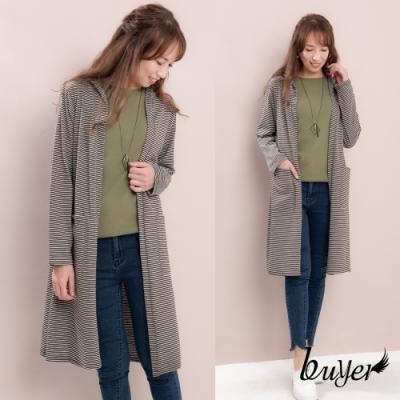 【白鵝buyer】台灣製 橫紋口袋開襟長版外套(深灰)