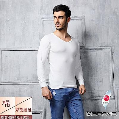 男內衣 棉毛長袖V領衫-白色 MORINO