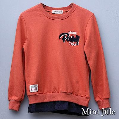 Mini Jule 大童 上衣 立體英文字母縮口假兩件長袖T恤(桔)