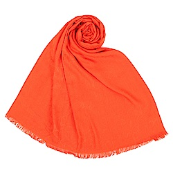 Calvin Klein CK滿版LOGO絲質寬版披肩圍巾-橘色