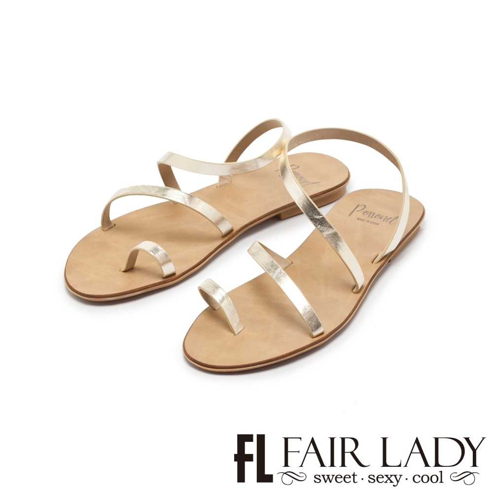 FAIR LADY PORRONET簡約繞帶穿趾平底涼鞋 金箔