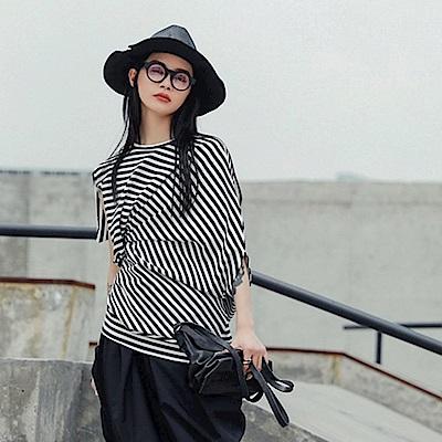 設計所在Style-日系個性不規則條紋修身短袖T恤