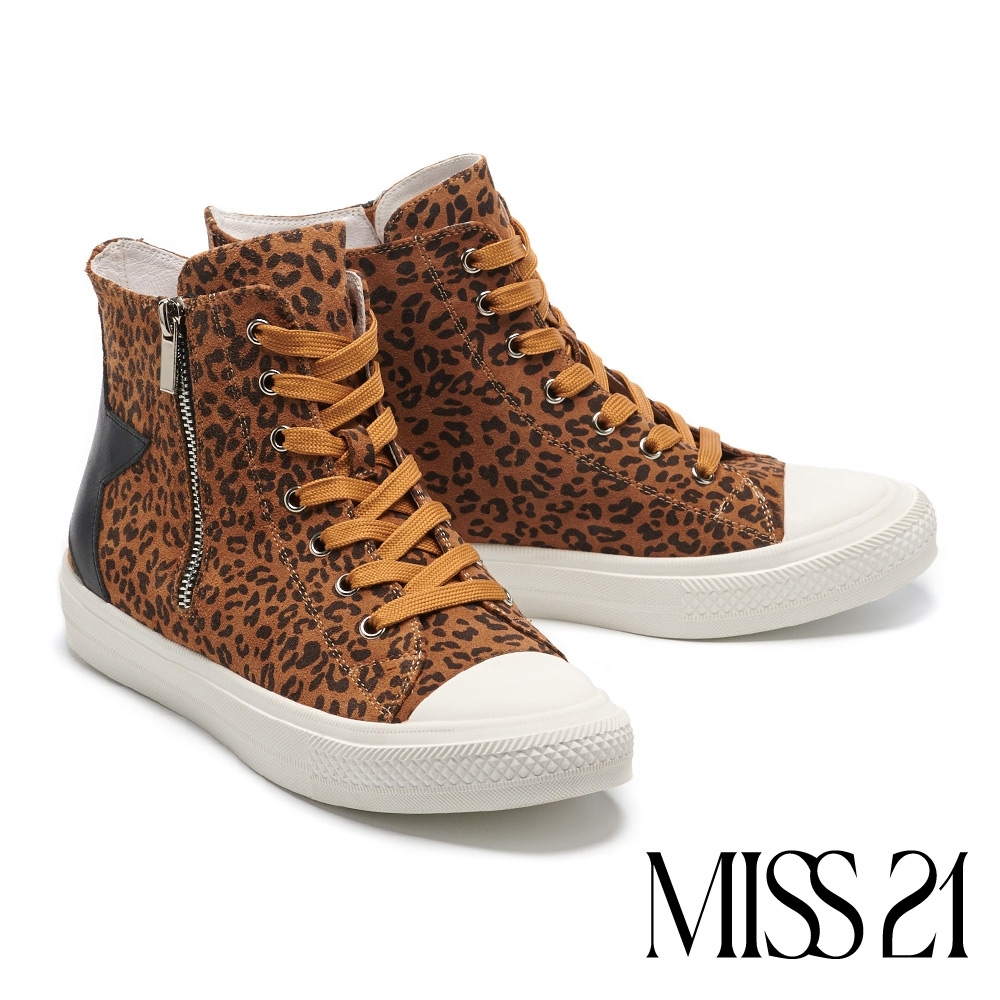 休閒鞋 MISS 21 玩味星星造型全真皮拉鍊厚底休閒鞋-豹紋