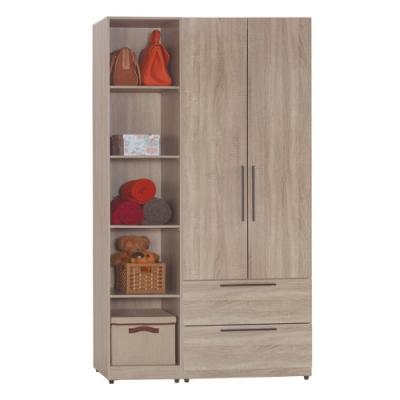 【AT HOME】日式簡約4尺淺灰橡木紋二抽+開放隔板衣櫃/收納櫃(凱文)