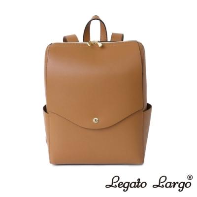Legato Largo 驚異的輕量化 小法式簡約線條 皮革後背包 焦糖駝色