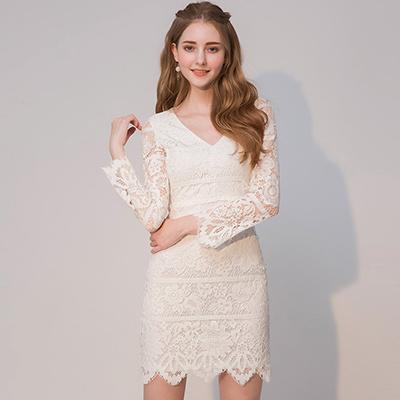 AIR SPACE V領美背蕾絲短洋裝(白)