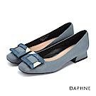達芙妮DAPHNE 低跟鞋-絨毛方釦金屬時尚低跟鞋-藍