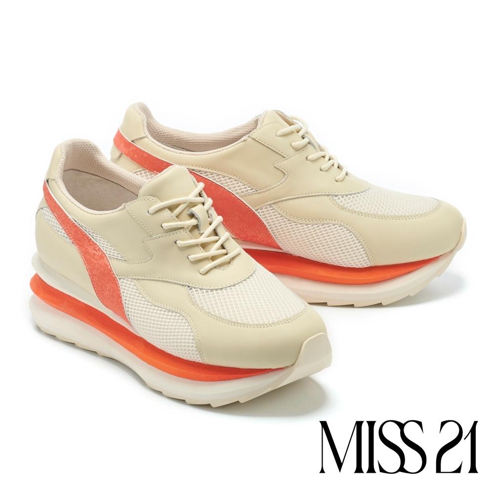 休閒鞋 MISS 21 街頭潮流色彩學疊疊底台綁帶休閒鞋-白