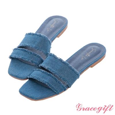 Grace gift X Samantha聯名-牛仔布抽鬚雙帶平底涼拖鞋 深藍