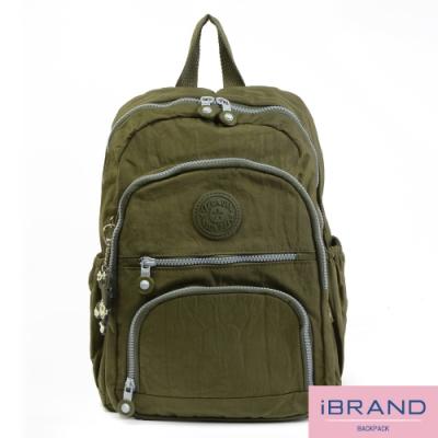 iBrand後背包 繽紛樂園尼龍多口袋後背包-軍綠色