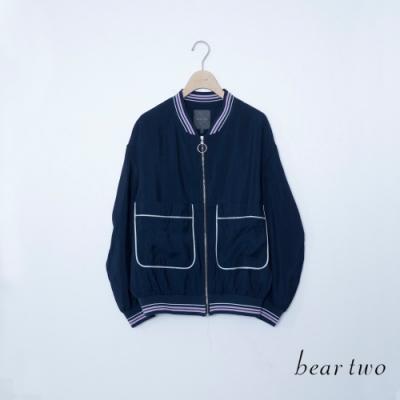 beartwo-大口袋飛行薄外套-藍
