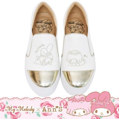 My melody X Ann'S玫瑰姊妹美樂蒂與小綿羊 金色鞋頭刺繡厚底懶人鞋-白