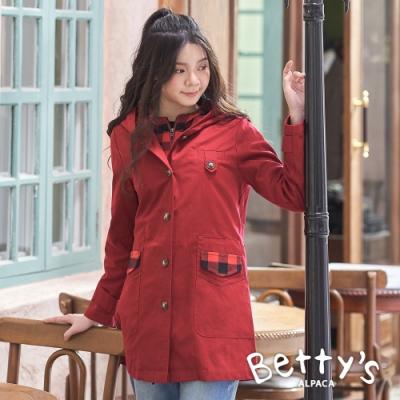 betty's貝蒂思 連帽格紋拼接素面大衣(紅色)