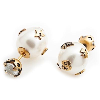 DIOR TRIBALES 鍍金復古金屬仿珠耳環
