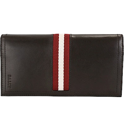 BALLY TALIRO 經典紅白織帶咖啡色牛皮對折長夾