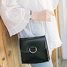 金屬鍊條純色圓環造型仿皮正方小包.3色-OB大尺碼