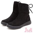 JMS-簡約造型後綁帶斜口中靴-黑色