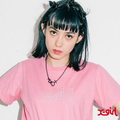 X-girl GLITTER MILLS LOGO S/S REGULAR TEE短袖T恤-粉