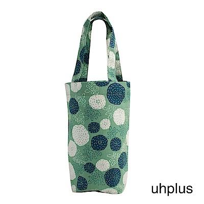 uhplus 隨行環保飲料袋(長版)- 花卉圈圈(藍綠)