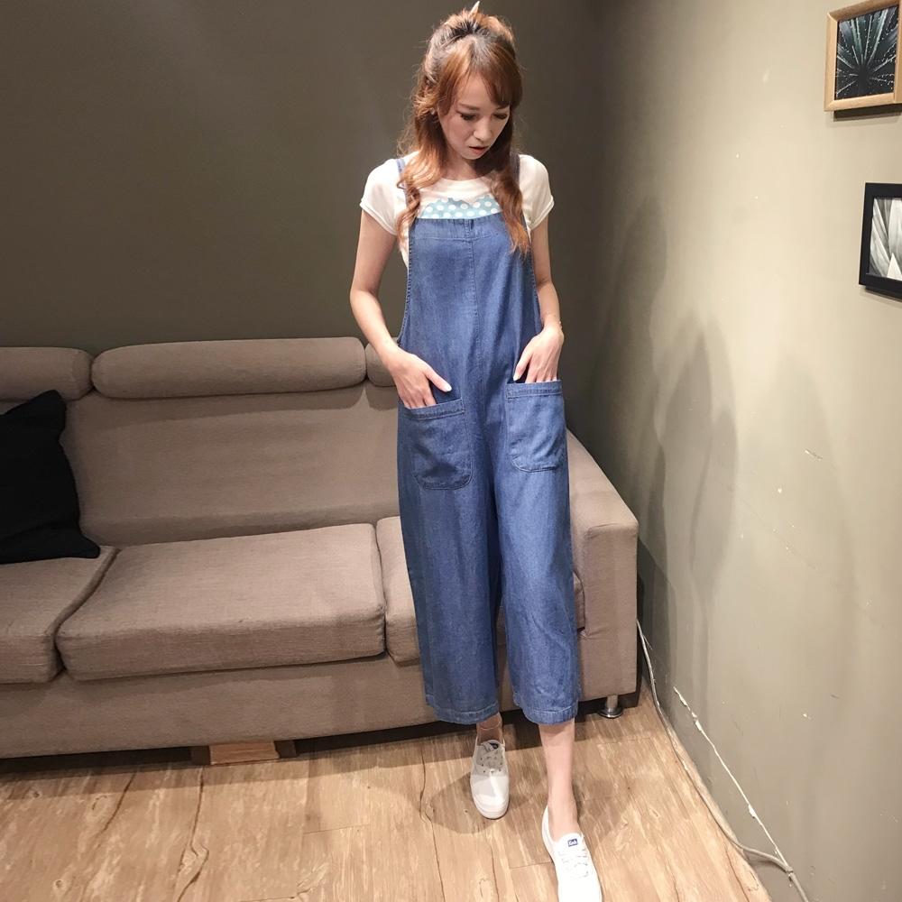 【白鵝buyer】韓國製單寧百搭吊帶褲(淺藍)