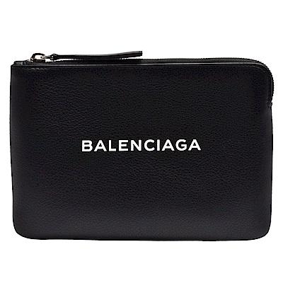 BALENCIAGA 經典EVERYDAY系列品牌字母LOGO壓紋小牛皮拉鍊手拿包(黑)