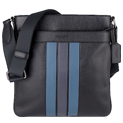 COACH 黑色荔枝紋皮革條紋方形斜背包