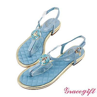 Grace gift-美少女戰士月光水晶亮漆T字涼鞋 淺藍