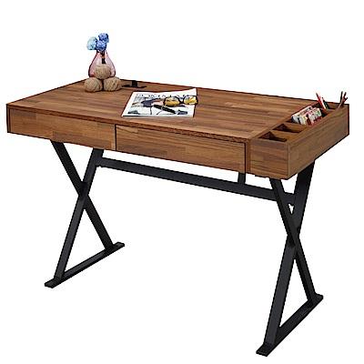文創集 荷比工業風4尺二抽書桌/電腦桌-120x60x75cm免組