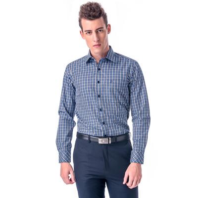 【金安德森】藍黃格紋窄版長袖襯衫